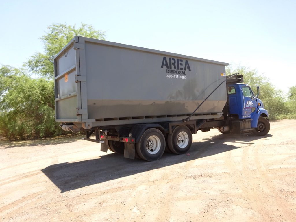One of our roll off dumpster rentals in Phoenix, AZ.